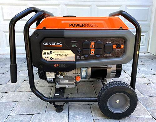 rugged 7500 watt generator with never-flat tires