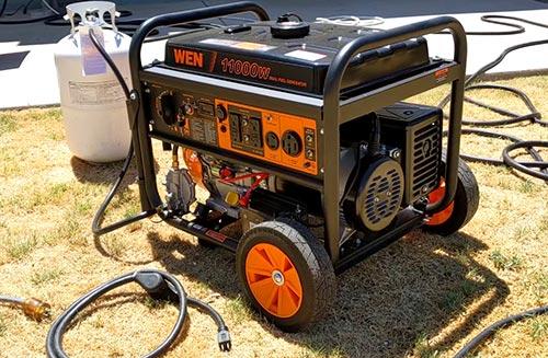 generator with a propane tank